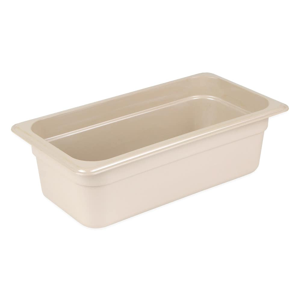 "Cambro 34HP772 High Heat 1/3 Size Food Pan - 4""D, Sandstone"