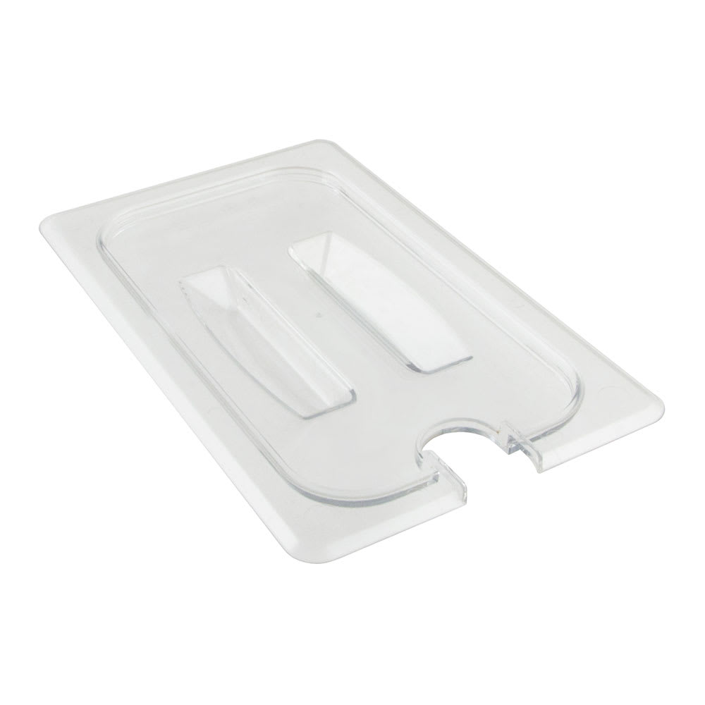 Cambro 40CWCHN135 Camwear Food Pan Cover - 1/4 Size, Notched with Handle, Clear