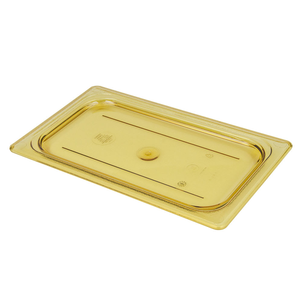 Cambro 40HPC150 H-Pan Food Pan Cover - 1/4 Size, Non-Stick, Flat, Amber
