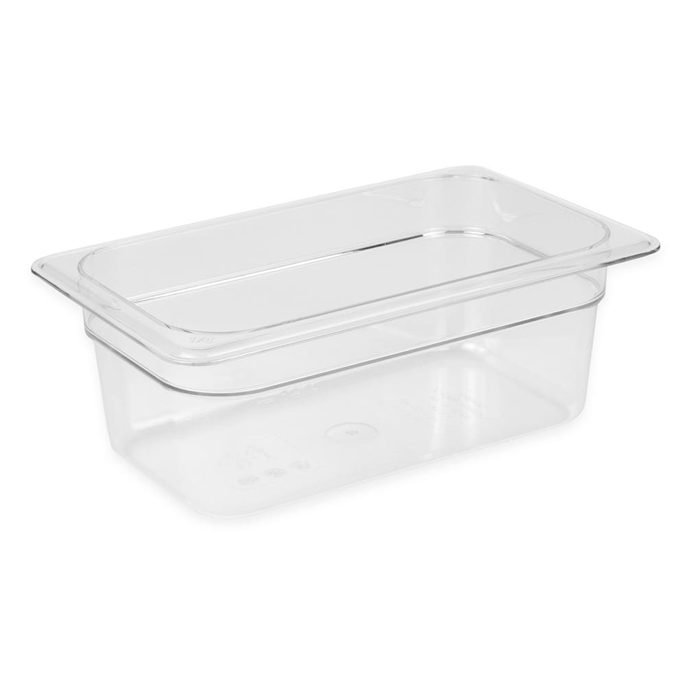 "Cambro 44CW135 Camwear Food Pan - 1/4 Size, 4""D, Clear"