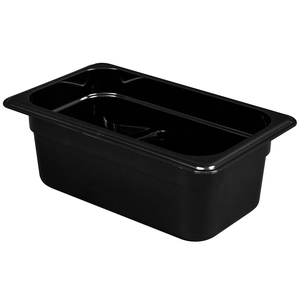 "Cambro 44HP110 H-Pan Hot Food Pan - 1/4 Size, 4""D, Non-Stick, Black"