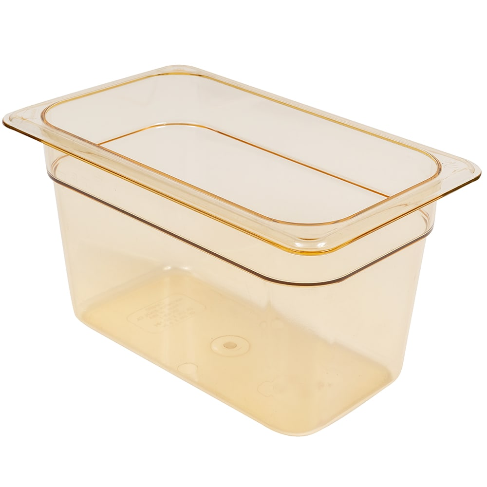 "Cambro 46HP150 H-Pan Hot Food Pan - 1/4 Size, 6""D, Non-Stick, Amber"