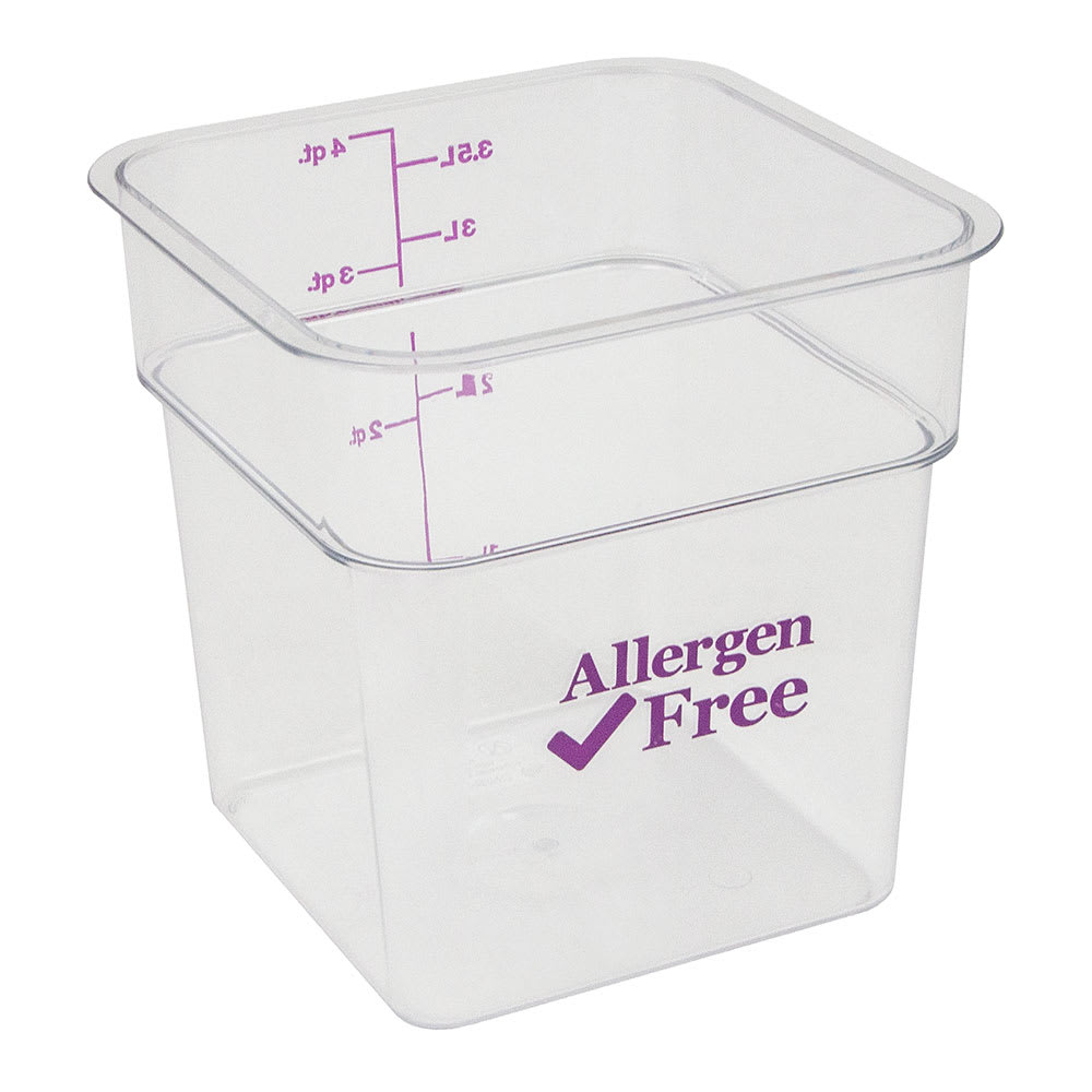 Cambro 4SFSCW441 4 qt Food Container - Allergen-Free, Polycarbonate, Clear