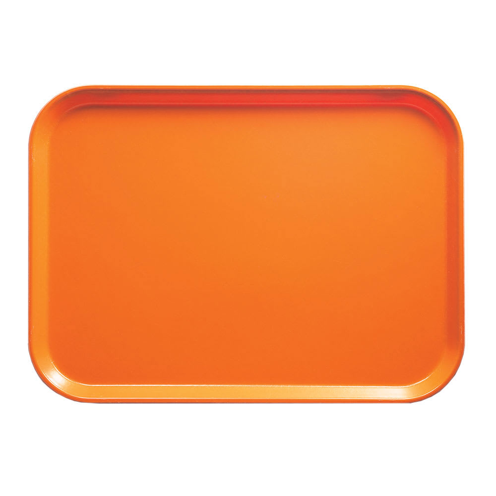"""Cambro 57222 Fiberglass Camtray® Cafeteria Tray - 6.9""""L x 4.9""""W, Orange Pizzaz"""