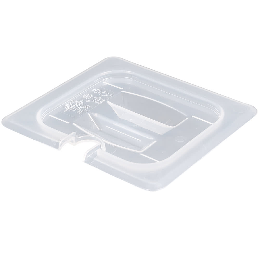 Cambro 60PPCHN190 Food Pan Cover - 1/6 Size, Notched, Handle, Translucent