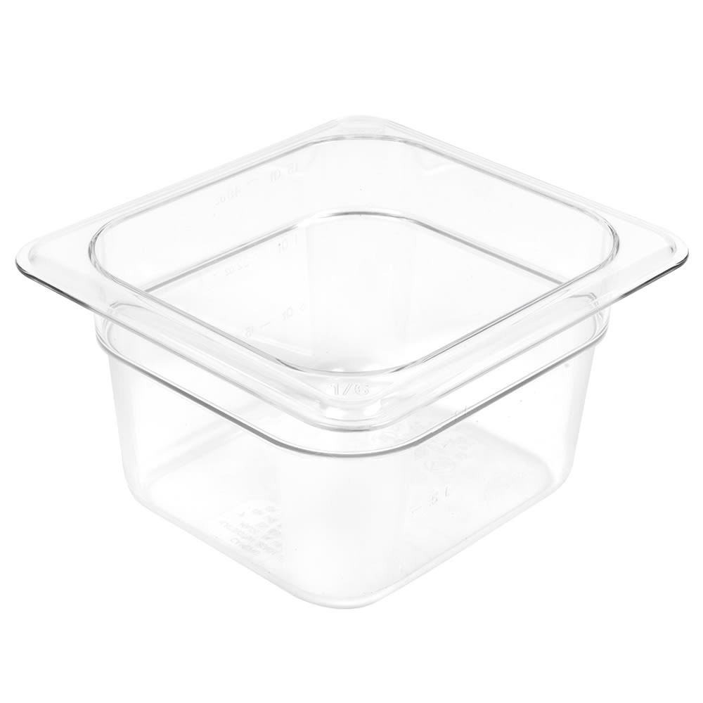 "Cambro 64CW135 Camwear Food Pan - 1/6 Size, 4""D, Clear"