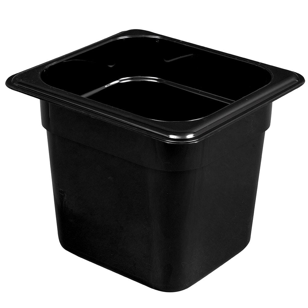 "Cambro 66HP110 H-Pan Food Pan - 1/6 Size, 6""D, Non-Stick, Black"