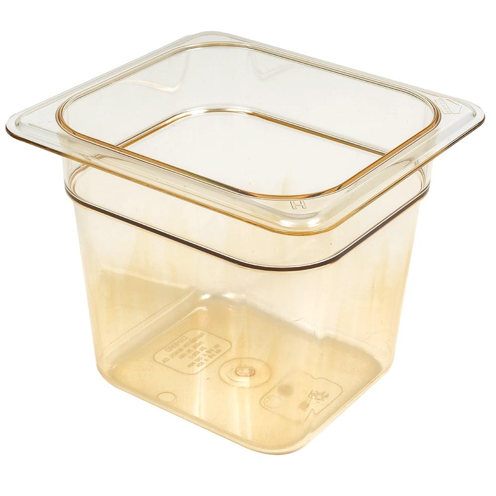 """Cambro 66HP150 H-Pan Food Pan - 1/6 Size, 6""""D, Non-Stick, Amber"""