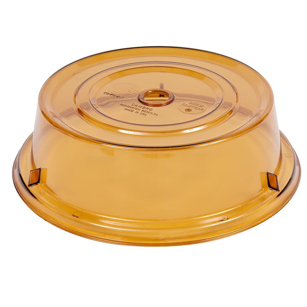 "Cambro 900CW153 9 1/8"" Round Camwear Plate Cover - Amber"