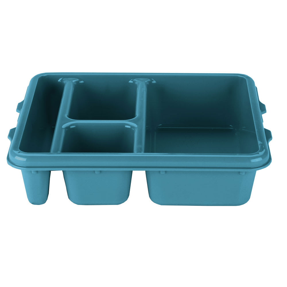 "Cambro 9114CP414 Rectangular Camwear Meal Delivery Tray - 5 Compartments, 9x11x2 1/2"" Teal"
