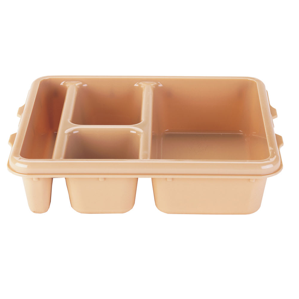 "Cambro 9114CW133 Rectangular Camwear Meal Delivery Tray - 5 Compartments, 9x11x2 1/2"" Beige"