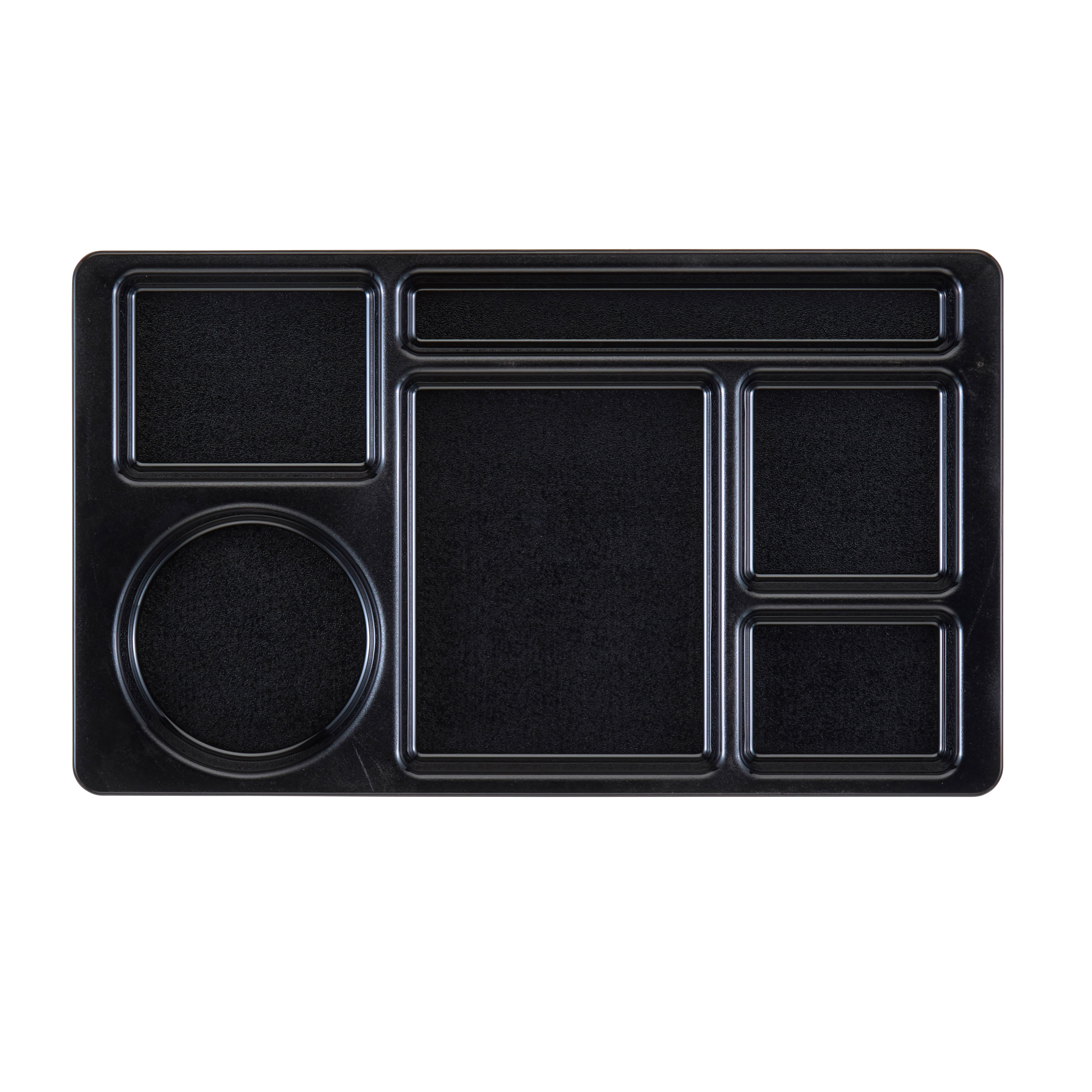 "Cambro 915CW-110 Rectangular Camwear Tray - 9x15"" 6-Compartments, Black"