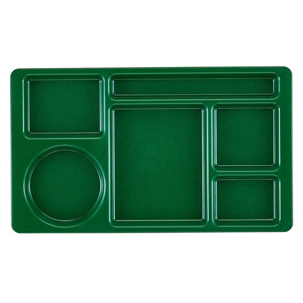 "Cambro 915CW119 Rectangular Camwear Tray - 9x15"" 6 Compartments, Sherwood Green"