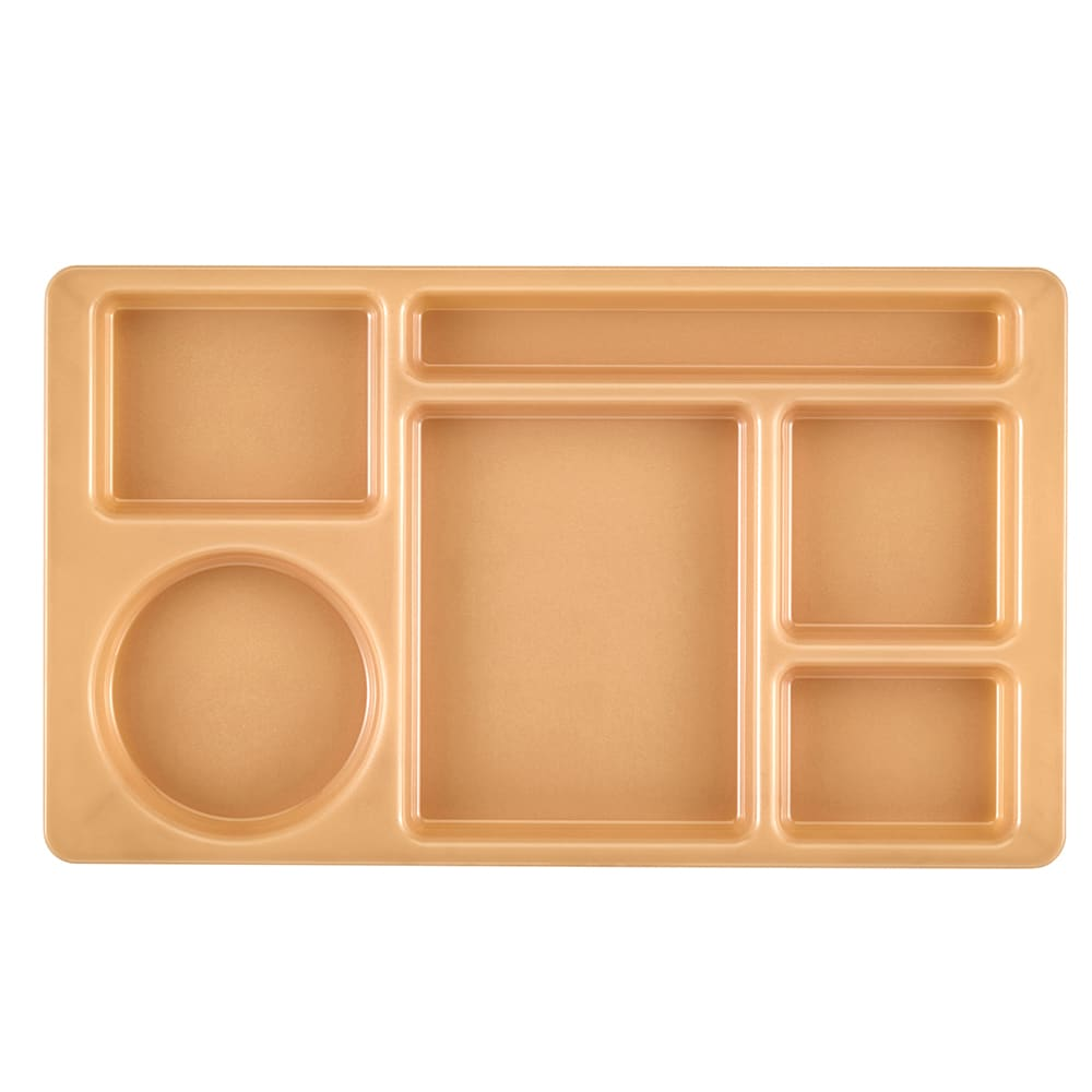 "Cambro 915CW133 Rectangular Camwear Tray - 6 Compartments, 9x15"" Beige"