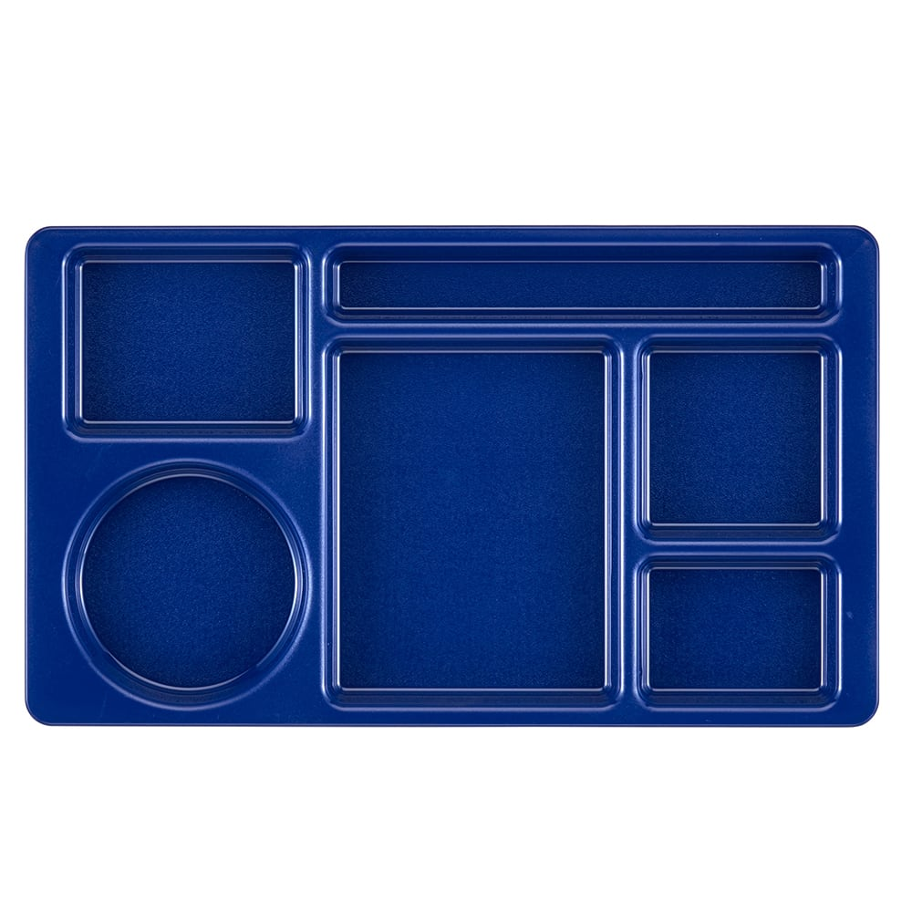 "Cambro 915CW186 Rectangular Camwear Tray - 6-Compartments, 9x15"" Polycarbonate, Navy Blue"