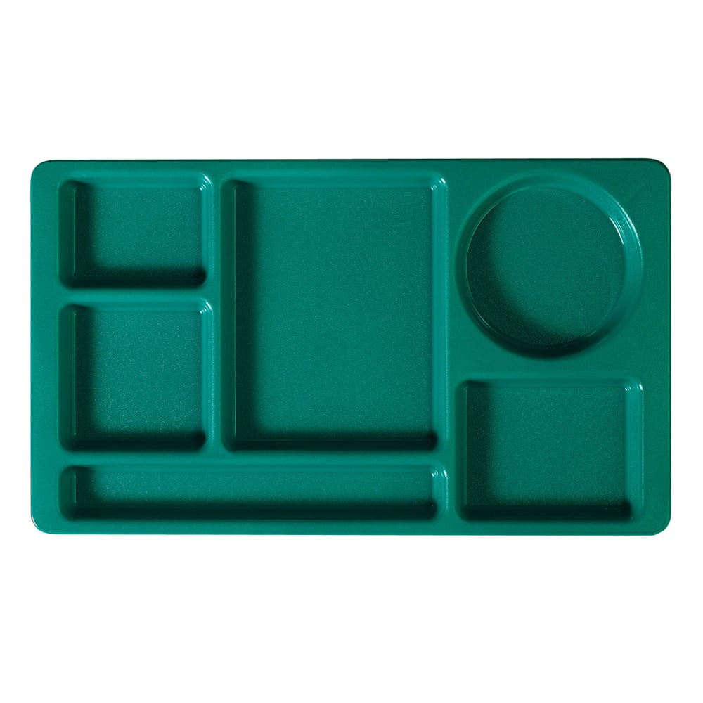 """Cambro 915CW414 Rectangular Camwear Tray - 6 Compartments, 9x15"""" Polycarbonate, Teal"""