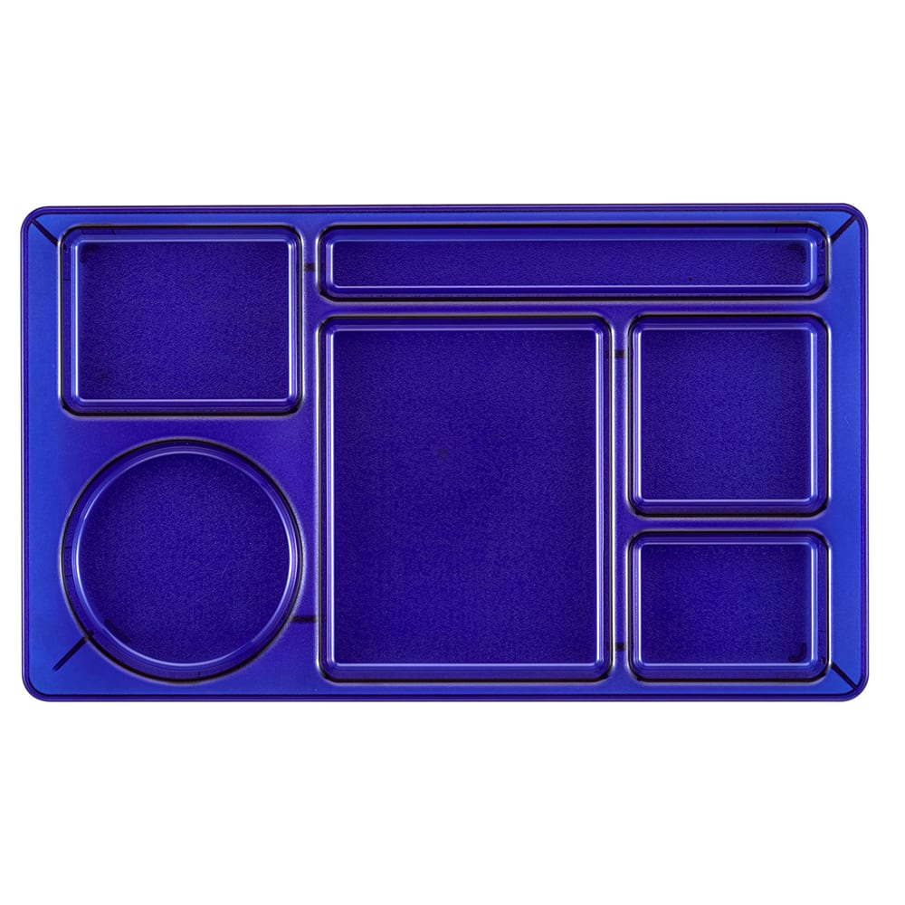 "Cambro 915CW431 Rectangular Camwear Tray - 9x15"" 6 Compartments, Translucent Blue"