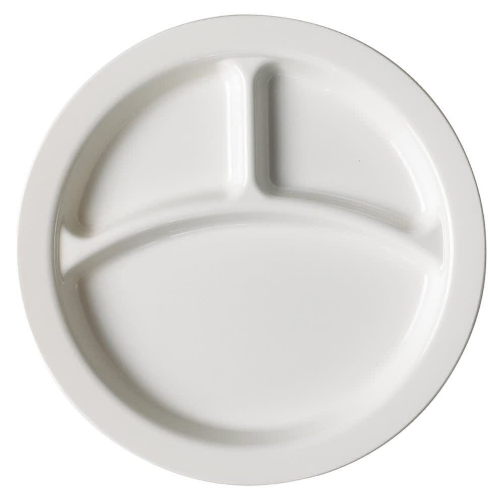 "Cambro 93CW148 9"" Camwear Plate - 3 Compartment, White"