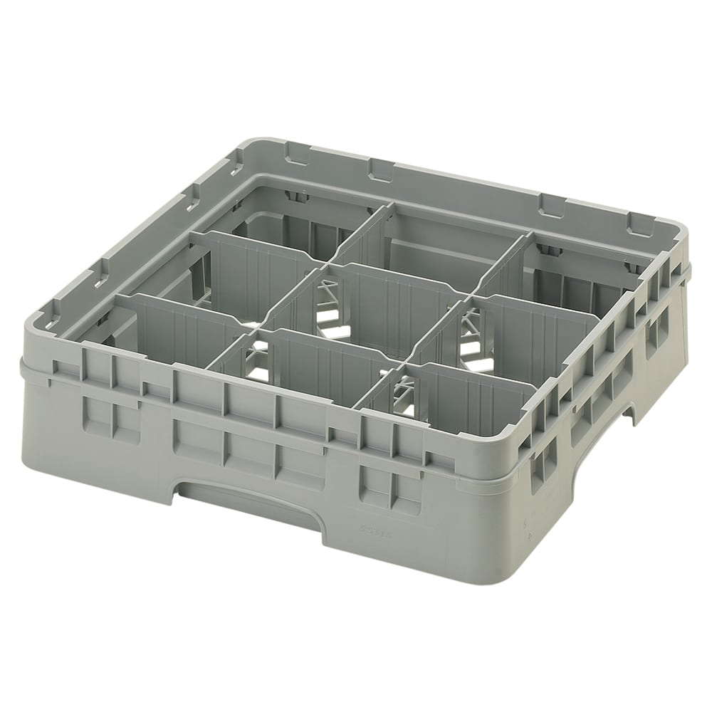 Cambro 9S318151 Camrack Glass Rack with Extender - 9 Compartments, Soft Gray