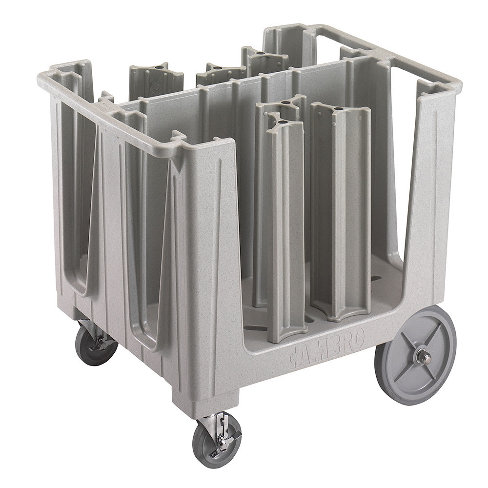 """Cambro ADCS480 Adjustable Dish Cart - 6 Towers, 4 1/2 13"""" Dish Size, Speckled Gray"""