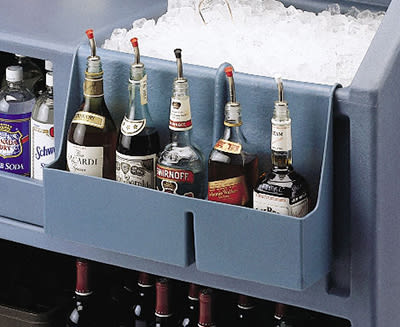 """Cambro BAR54SR180 Partitioned Speed Rail - 5-Bottle, 19-1/2x4-5/16x12-5/8"""" Gray"""