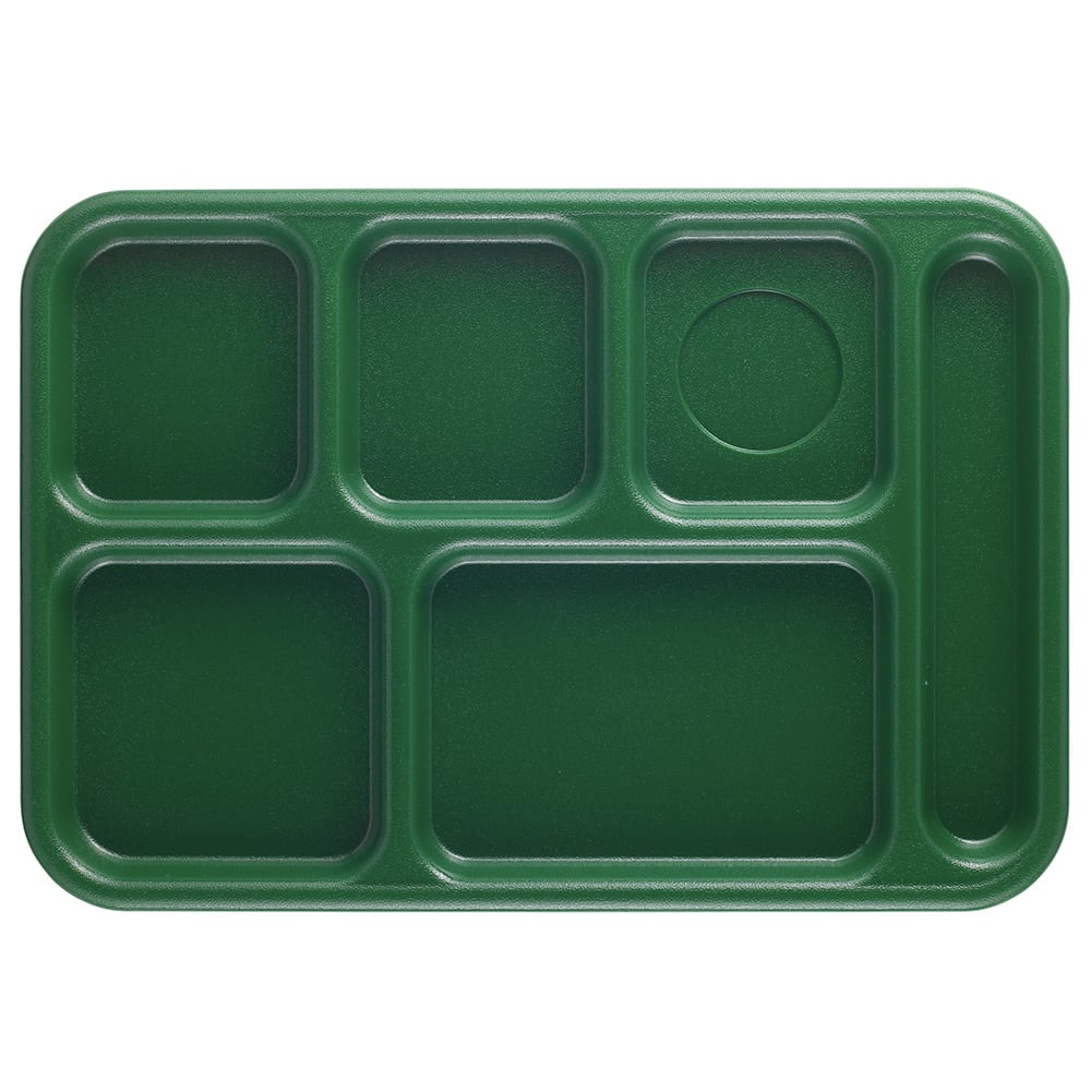 "Cambro BCT1014119 Rectangular Budget School Tray - 10x14 1/2"" 6 Compartment, Sherwood Green"