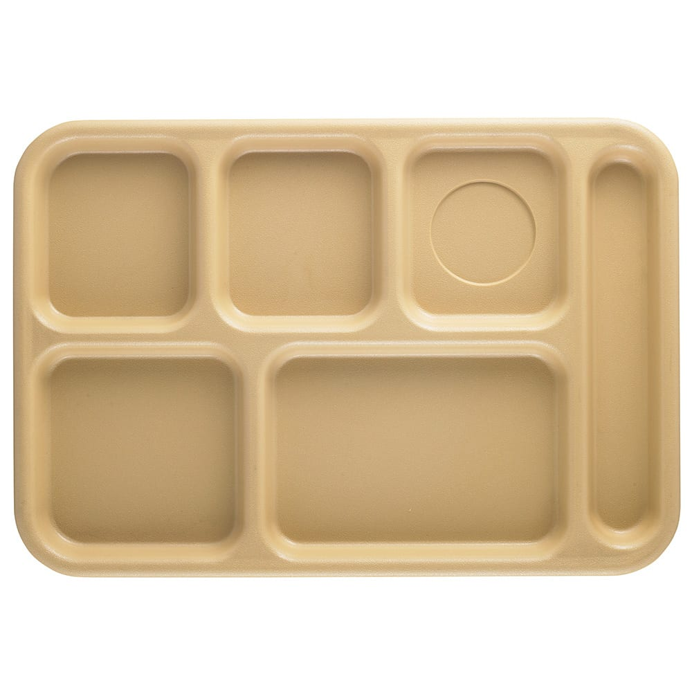 "Cambro BCT1014161 Rectangular Budget School Tray - 10x14-1/2"" 6-Compartment, Tan"