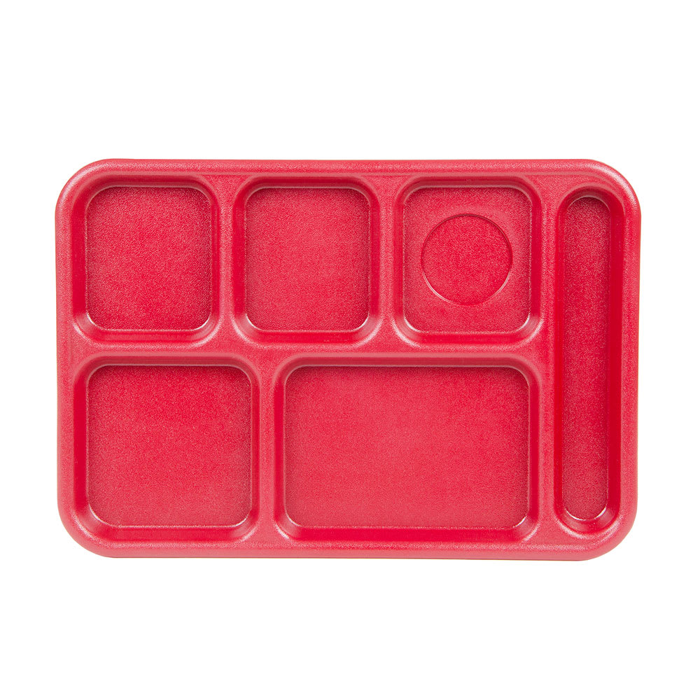 "Cambro BCT1014163 Rectangular Budget School Tray - 10x14 1/2"" 6 Compartment, Red"