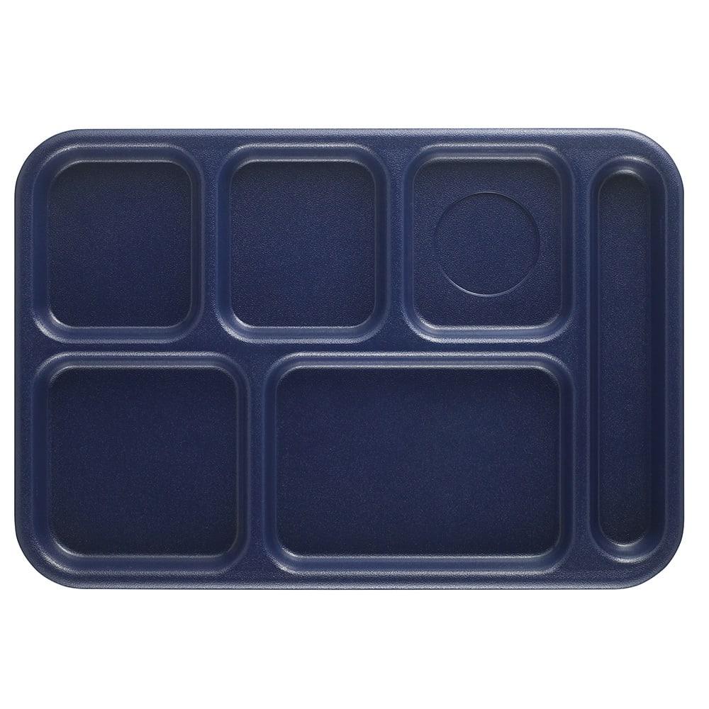 "Cambro BCT1014186 Rectangular Budget School Tray - 10x14-1/2"" 6-Compartment, Navy Blue"