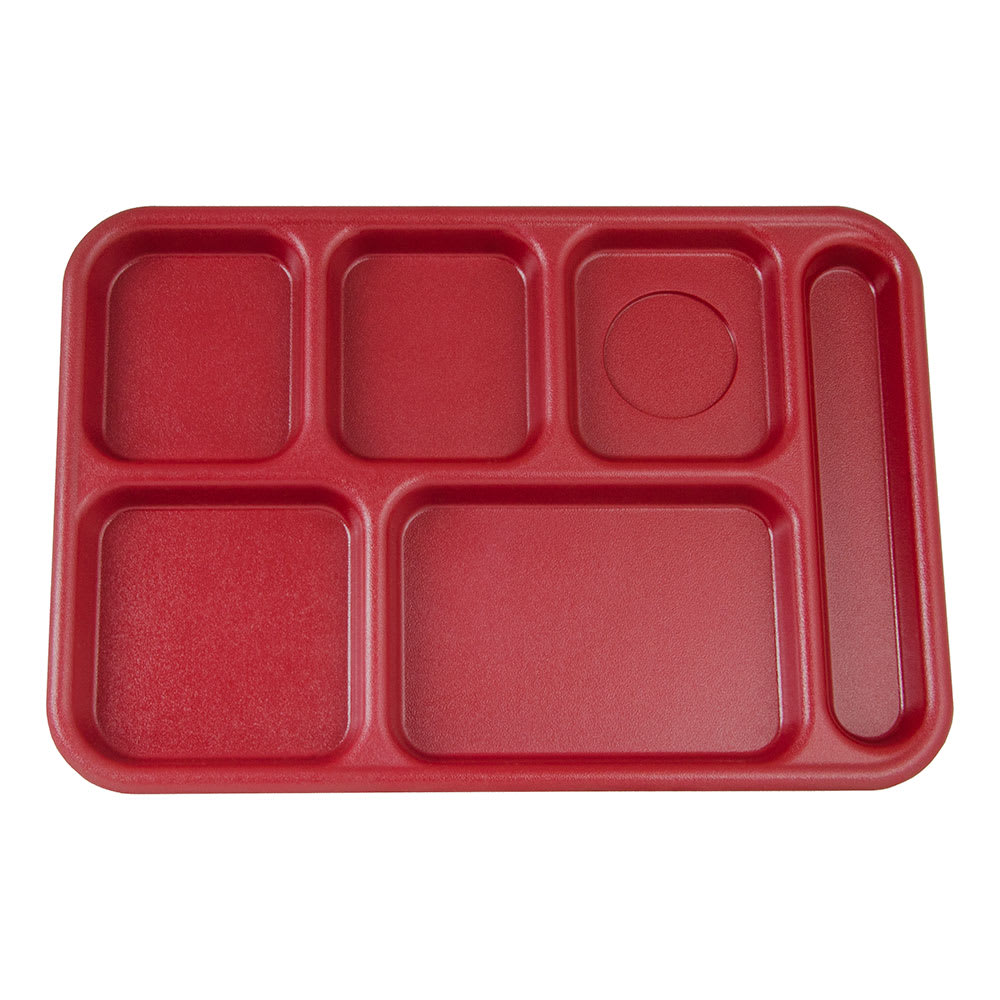 "Cambro BCT1014416 Rectangular Budget School Tray - 10x14 1/2"" 6 Compartment, Cranberry"