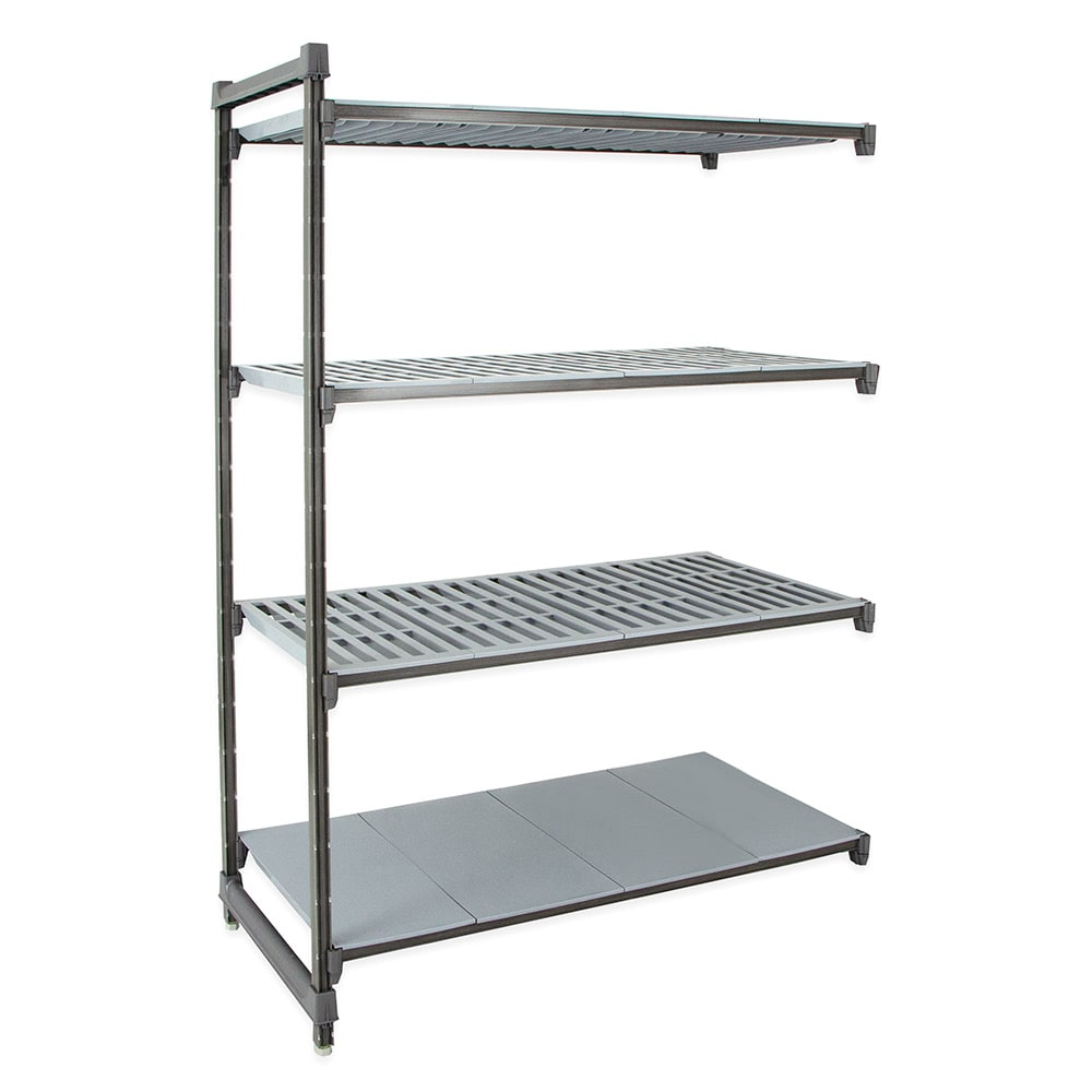 """Cambro CBA186064VS4580 Polymer Louvered/Solid Add-On Shelving Unit - 60""""W x 18""""D x 64""""H"""