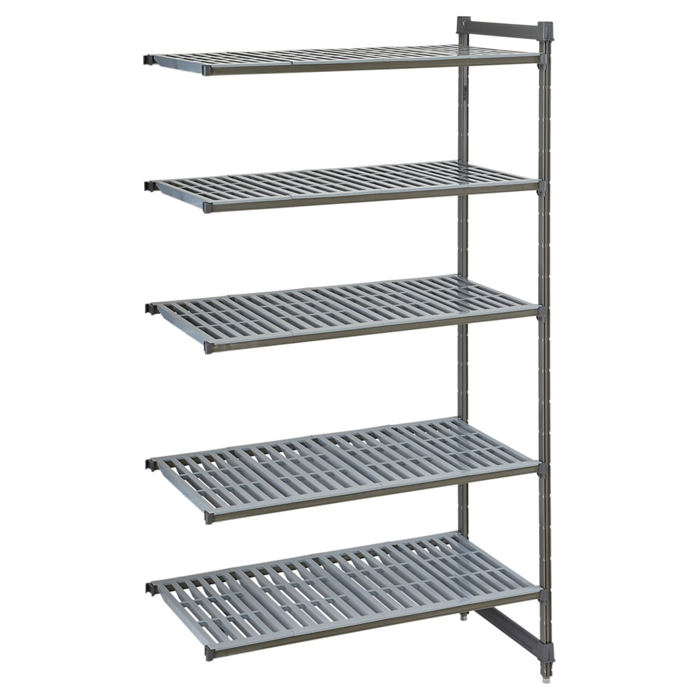 "Cambro CBA244864V5580 Polymer Louvered Add-On Shelving Unit - 48""L x 24""W x 64""H"