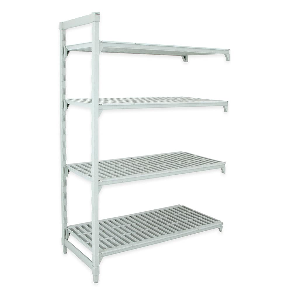 "Cambro CSA48487480 Polymer Louvered Add-On Shelving Unit - 48""L x 18""W x 72""H"