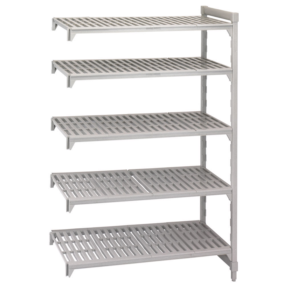 """Cambro CPA216072V5480 Polymer Louvered Add-On Shelving Unit - 60""""L x 21""""W x 72""""H"""