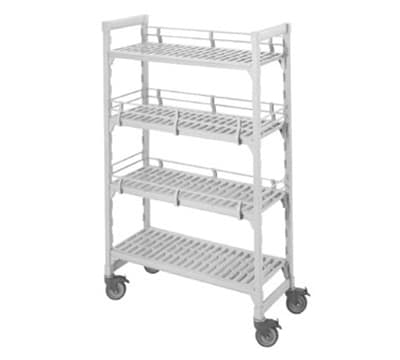 """Cambro CSFE24480 Camshelving® Fence System - Fits 24"""" Post, Double Level End, Speckled Gray"""