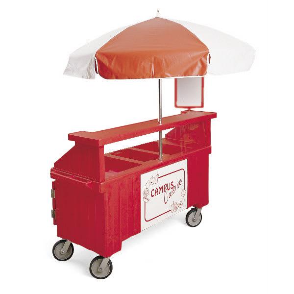 "Cambro CVC72158 Food Cart w/ Cover & Cutting Board, 74.5""L x 31.75""W x 94""H, Red"
