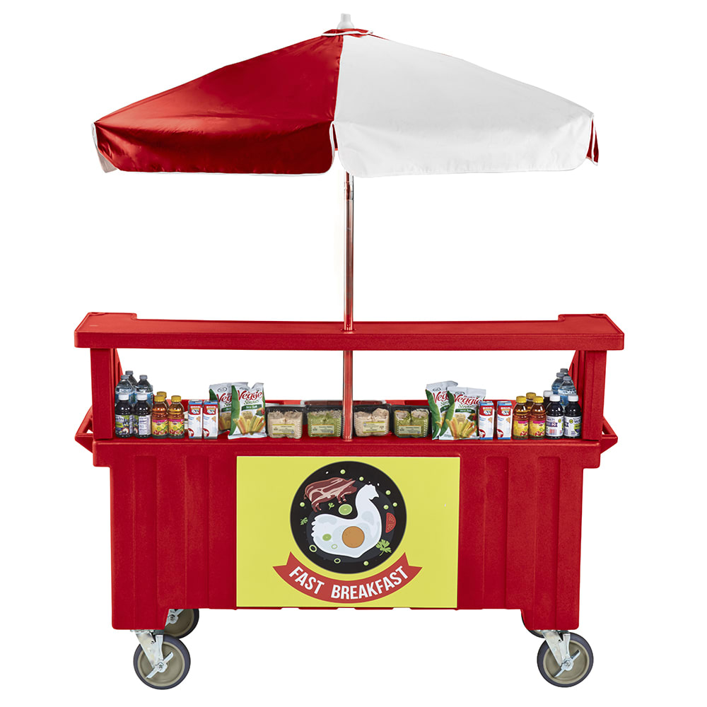 "Cambro CVC724158 Food Cart w/ Cover & Cutting Board, 74.25""L x 31.75""W x 94""H, Red"