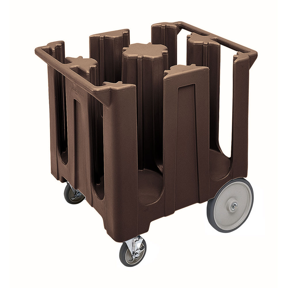 "Cambro DC825131 Dish Caddies Cart - 4 Columns, 8 1/4"" Max Dish Size, Dark Brown"
