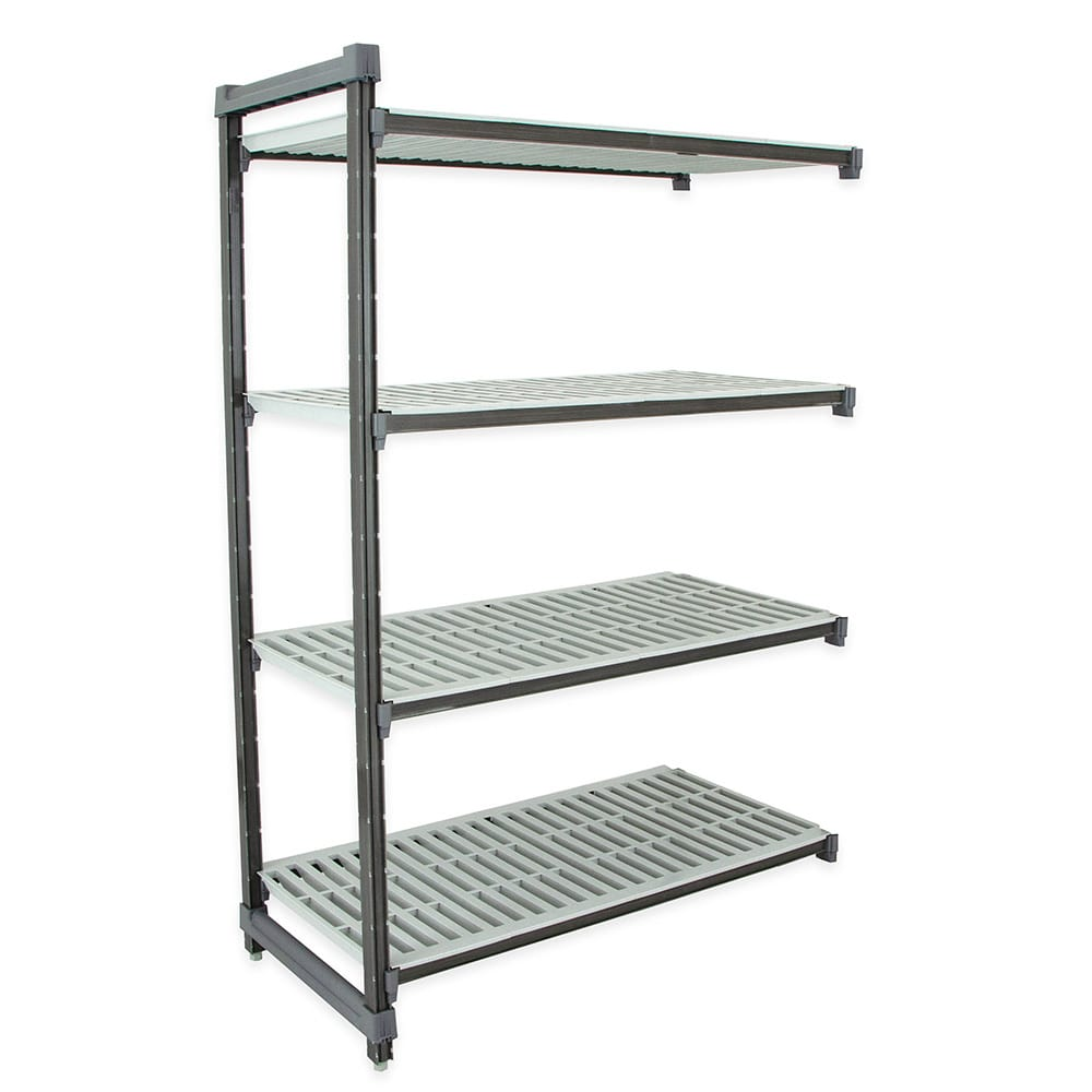 "Cambro EA246084V4PKG Polymer Louvered Add-On Shelving Unit - 60""L x 24""W x 84""H"