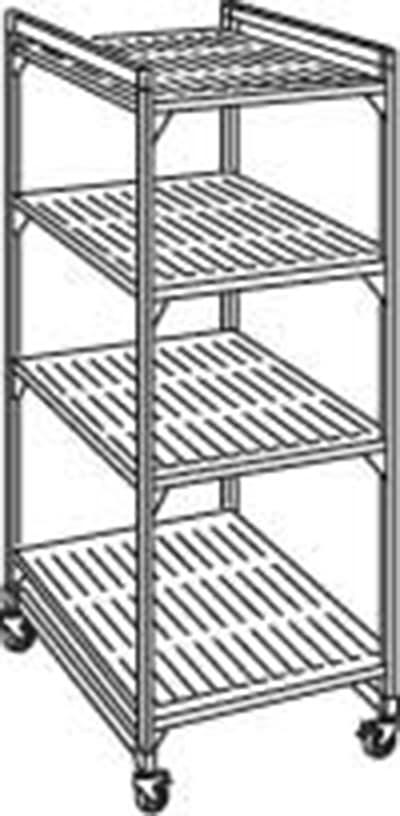 "Cambro EMU214878 580 Mobile Starter Shelving Unit - (4)Shelf, 21x48x78"" Brushed Graphite"
