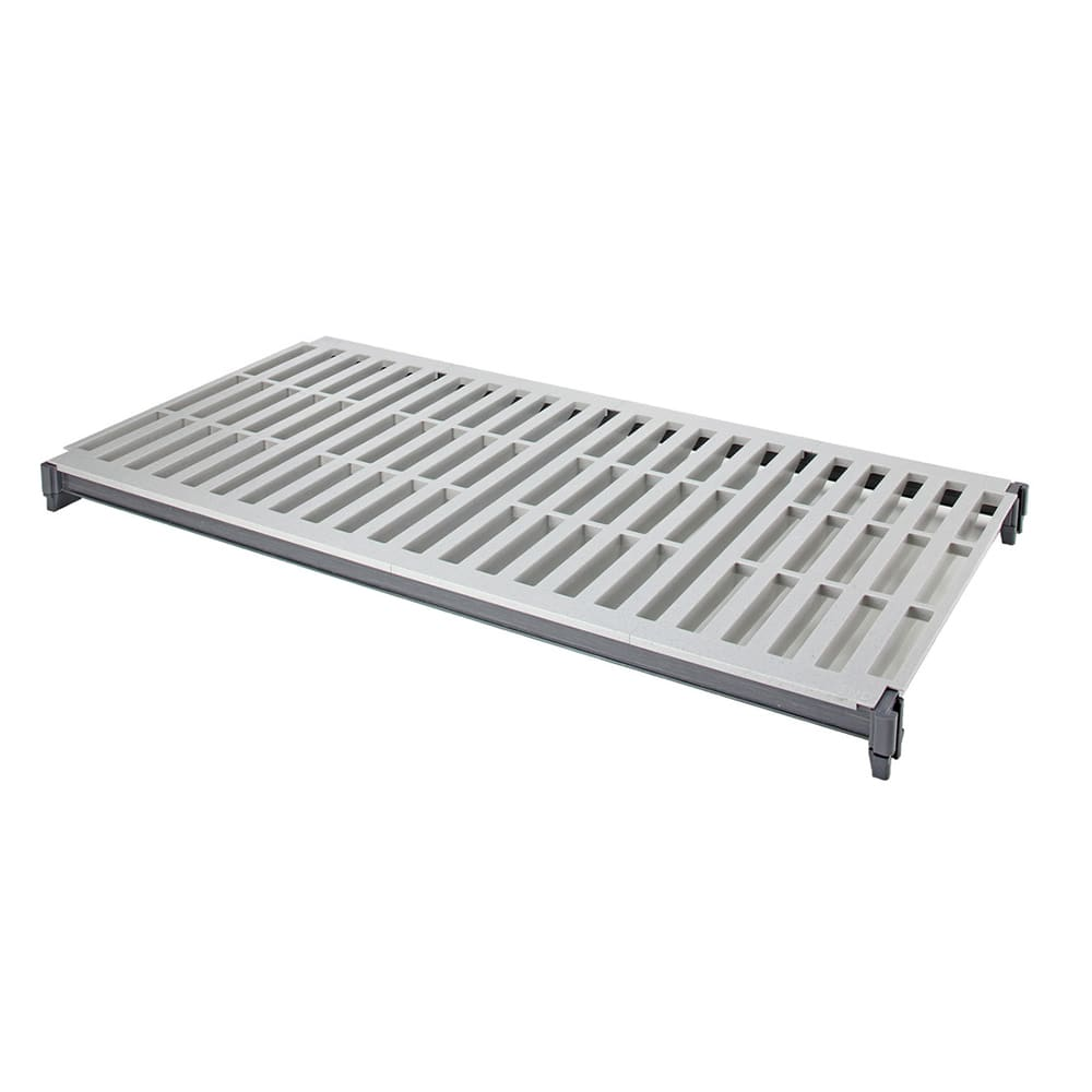"Cambro ESK1848V1580 Camshelving® Elements Polymer Louvered Shelf Plate Kit - 18"" x 48"", Brushed Graphite"