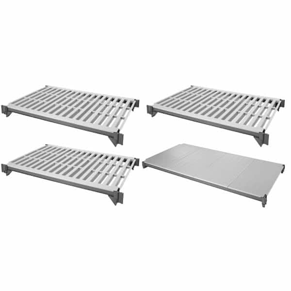 """Cambro ESK2436VS4580 Camshelving® Elements Polymer Louvered/Solid Shelf Plate Kit - 24"""" x 36"""", Brushed Graphite"""