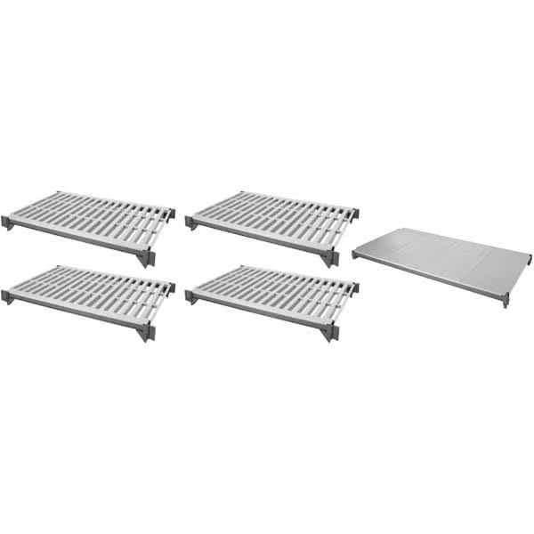 """Cambro ESK2436VS5580 Camshelving® Elements Polymer Louvered/Solid Shelf Plate Kit - 24"""" x 36"""", Brushed Graphite"""