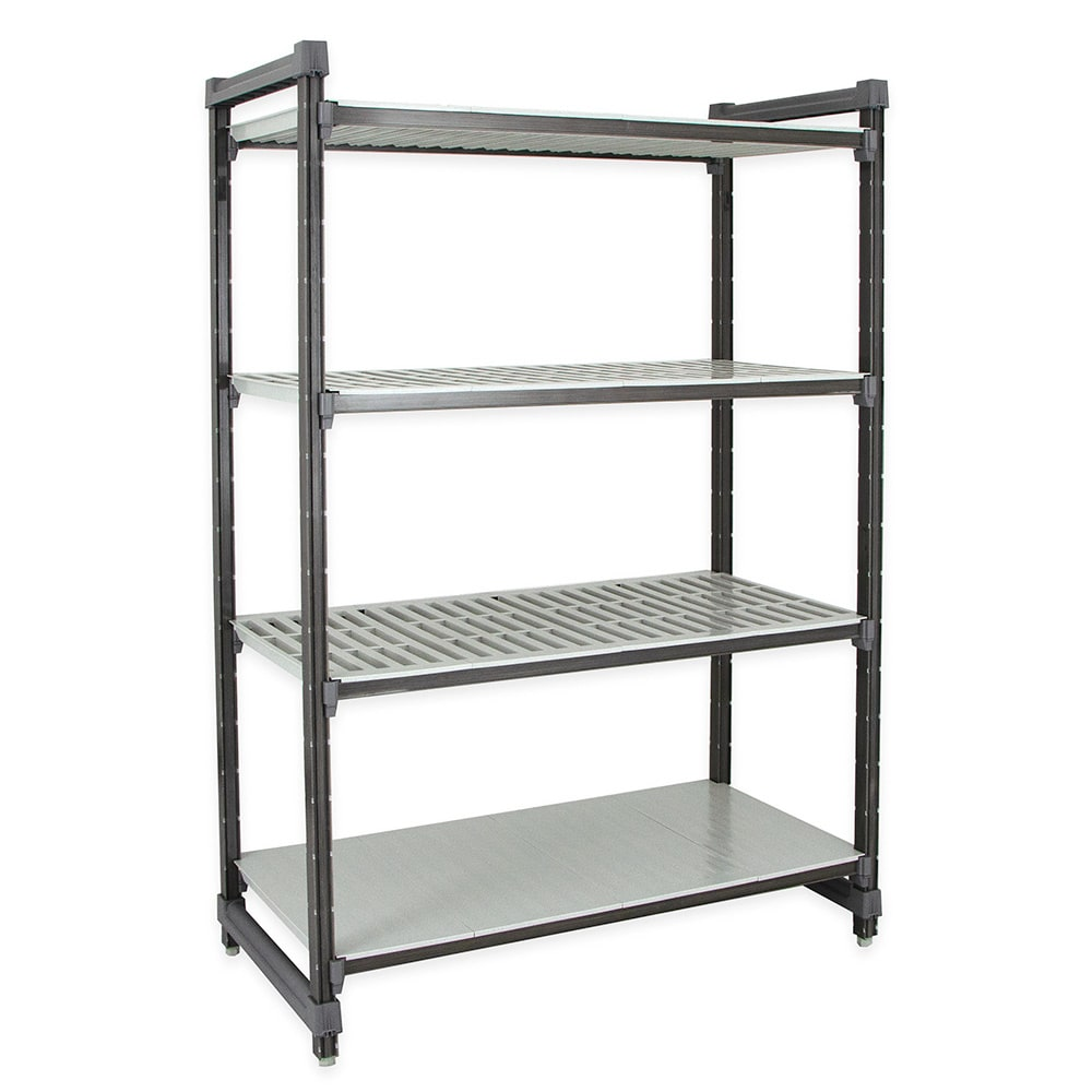 "Cambro ESU186072VS4580 Polymer Louvered/Solid Shelving Unit - 60""L x 18""W x 72""H"