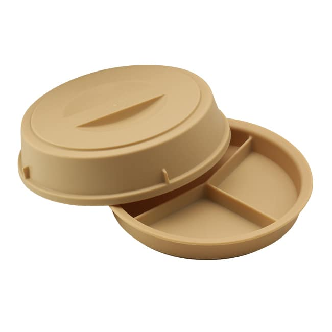 """Cambro HK93CW133 9 1/2"""" Camwear Heat Keeper Base with Cover - 3 Compartment, Beige"""