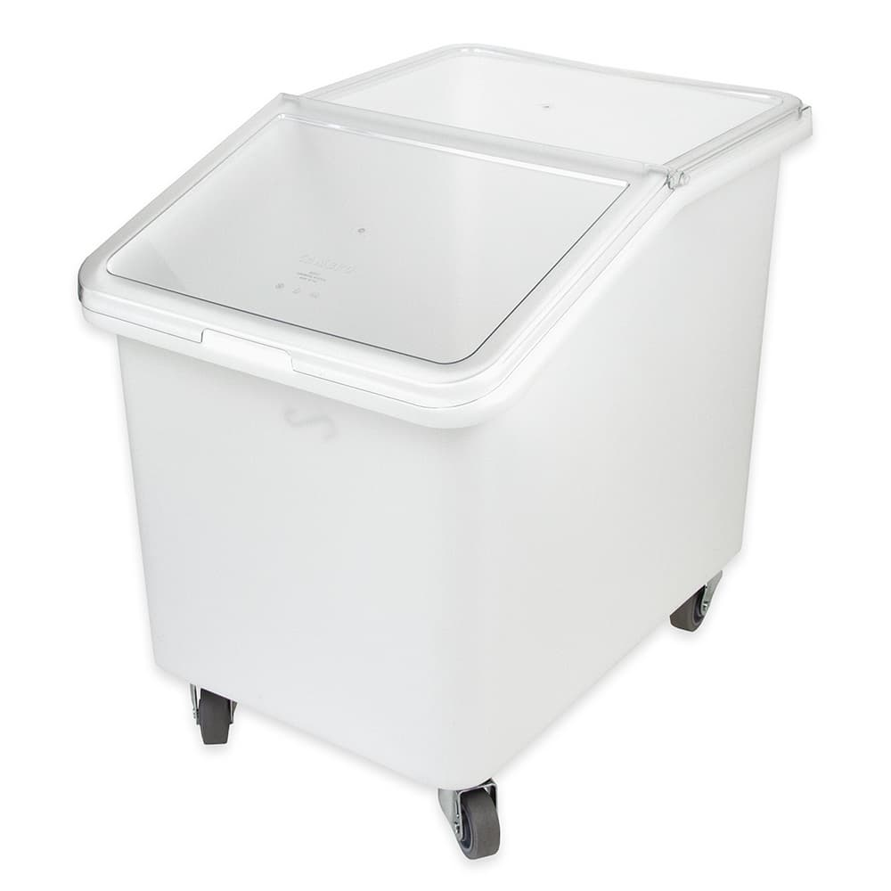 Cambro IBS37148 37 gal Mobile Ingredient Bin - Sliding Cover, White/Clear