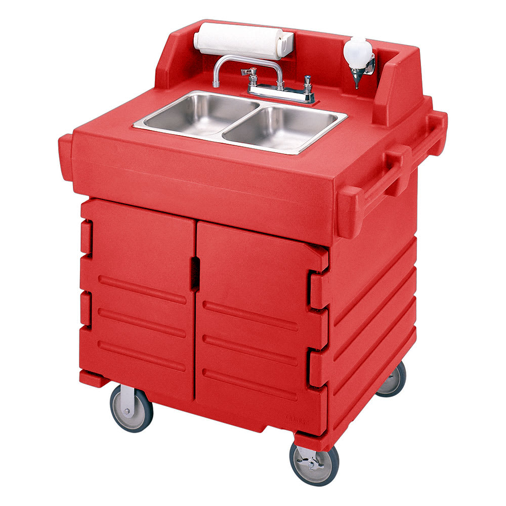 "Cambro KSC402158 45.5""H Portable Sink Cart w/ (2) 4""D Bowls, Hot Water"