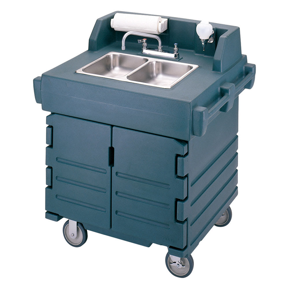 "Cambro KSC402192 45.5""H Portable Sink Cart w/ (2) 4""D Bowls, Hot Water"