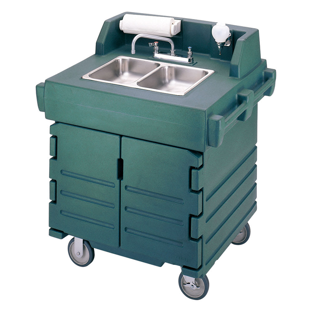 "Cambro KSC402519 45.5""H Portable Sink Cart w/ (2) 4""D Bowls, Hot Water"