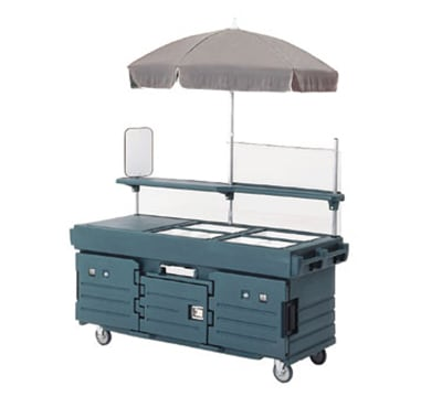 Cambro KVC854U186 CamKiosk Cart with Umbrella - (4)Pan Wells, Navy Blue/Beige/Green